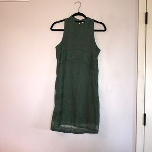 Francesca's - Olive Lace Overlay Mini Dress